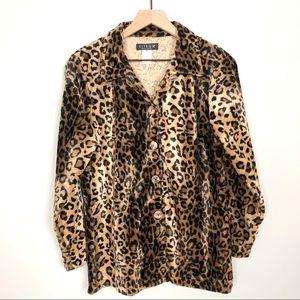 Vintage Animal Leopard Print Button Down Jacket